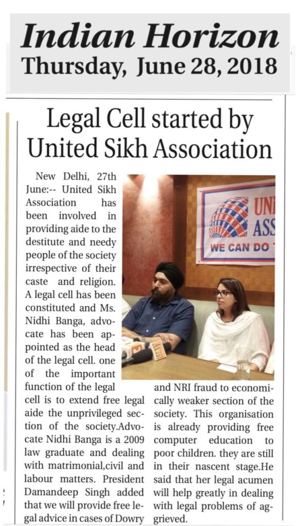 United Sikh Association opens legal cell to help needy Sikhs